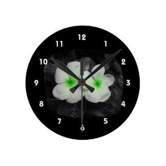 Pinwheel green circle  flower cutout round clock