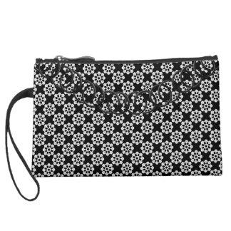 Pinwheel Luxury Black & White Baguette Black Chain Suede Wristlet Wallet