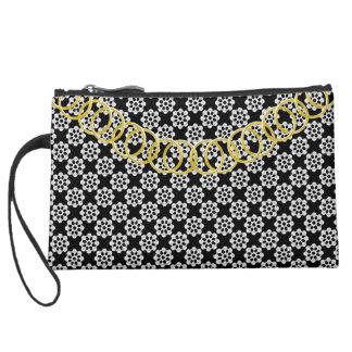 Pinwheel Luxury Sueded Black & White Baguette Suede Wristlet Wallet