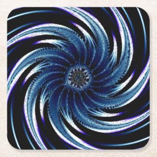 Pinwheel of Blue Square Paper Coaster