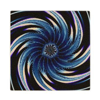 Pinwheel of Blue Wood Coaster