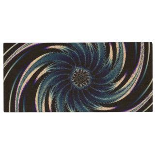Pinwheel of Blue Wood USB Flash Drive