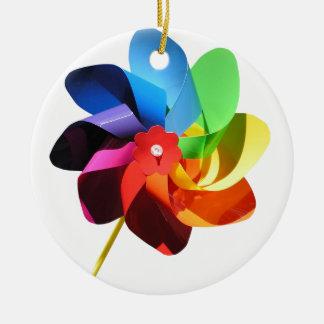 Pinwheel Double-Sided Ceramic Round Christmas Ornament