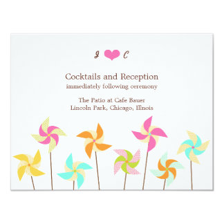 Pinwheel Picnic Wedding Reception Card