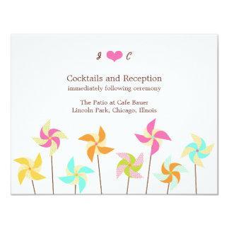 "Pinwheel Picnic Wedding Reception Card 4.25"" X 5.5"" Invitation Card"