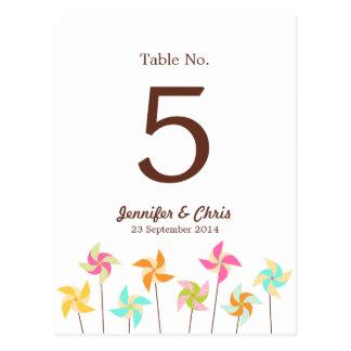 Pinwheel Picnic Wedding Table Number Post Cards