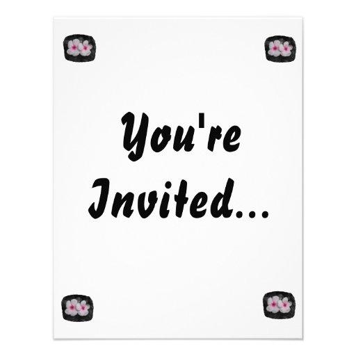 Pinwheel pink circle  flower cutout invitations