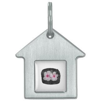 Pinwheel pink circle  flower cutout pet name tag