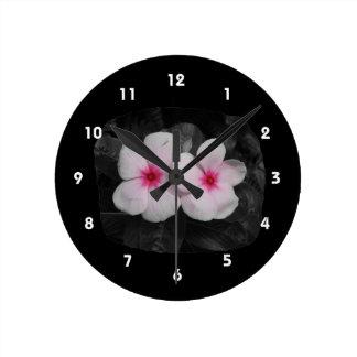 Pinwheel pink circle  flower cutout round clock