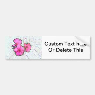 pinwheel pink flowers sketch floral plant design bumper sticker