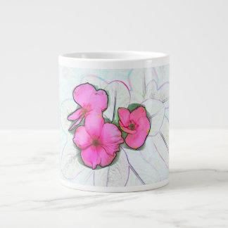 pinwheel pink flowers sketch floral plant design 20 oz large ceramic coffee mug