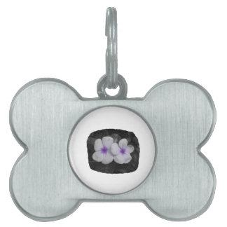 Pinwheel purple circle  flower cutout pet ID tags