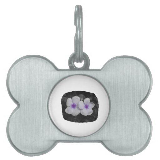 Pinwheel purple circle  flower cutout pet name tags