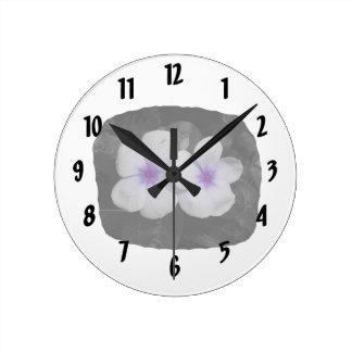 Pinwheel purple circle  flower cutout round clock