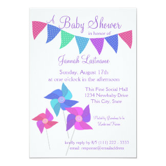 Pinwheels and Polka Dot Pennants Baby Shower 5x7 Paper Invitation Card