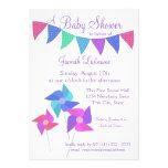 Pinwheels and Polka Dot Pennants Baby Shower Custom Invites