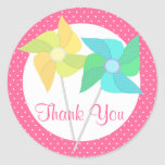 Pinwheels and Polka Dots Pink Classic Round Sticker