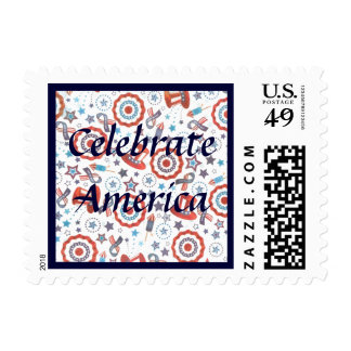 Pinwheels and Stars and Uncle Sam's Hats USA Pride Postage Stamp