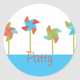Pinwheels in the Park Classic Round Sticker