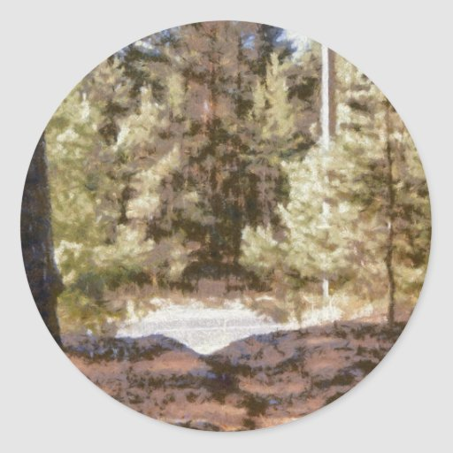 Piny forest classic round sticker