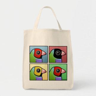 Pinzón de Gouldian de cuatro colores Bolsa Tela Para La Compra