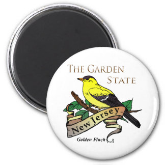 Pinzón de oro del estado jardín de New Jersey Imán Redondo 5 Cm