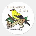 Pinzón de oro del estado jardín de New Jersey Pegatina Redonda