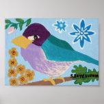 Pinzón púrpura -7x5 poster