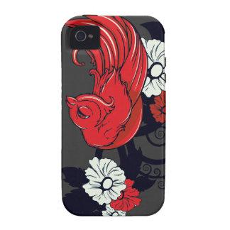 pinzón rojo precioso y flores blancos y negros Case-Mate iPhone 4 carcasa