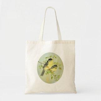 Pinzón y flores del oro bolsa tela barata