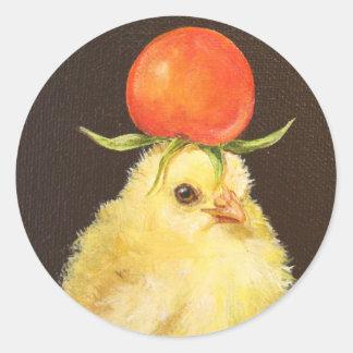 Pío con los pegatinas del gorra del tomate pegatina redonda