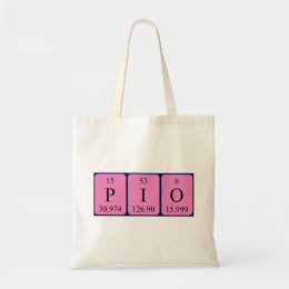 Pio periodic table name tote bag