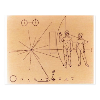 Pioneer 10 s Plaque Engraved Gold-Anodized Plate Post Card