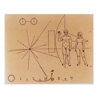 Pioneer 10 s Plaque Engraved Gold-Anodized Plate Print