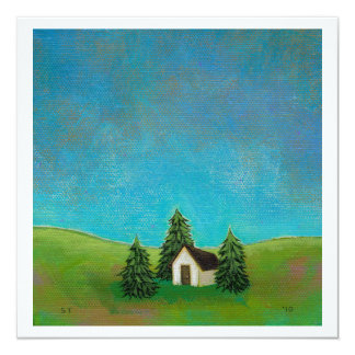 Pioneer house art peaceful landscape painting card