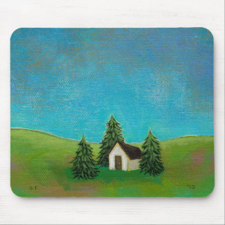 Pioneer house art peaceful landscape painting mousepads