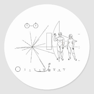 Pioneer plaque for Alien Contact in Space Classic Round Sticker