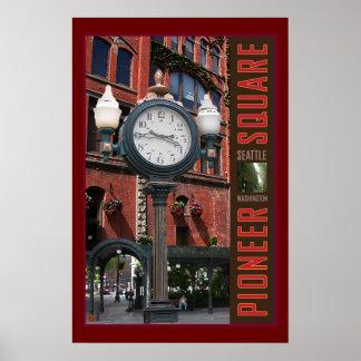 Pioneer Square Clock-Print Poster