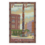 Pioneer Square - Seattle, WA Totem Pole Poster