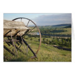 Pioneer Vision- Wyoming wagon wheel and scenery Greeting Card