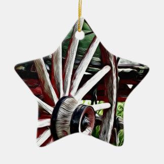 Pioneer Wagon Wheel Ceramic Ornament