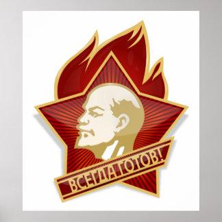 Pioneers Organization Vladimir Lenin Communist Poster