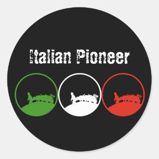 PIONERO ITALIANO PEGATINA REDONDA