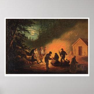 Pioneros de California alrededor de una hoguera (0 Póster