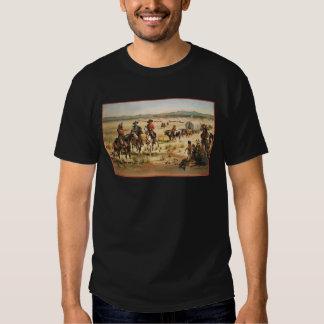 Pioneros del oeste americanos del vintage del tren playera