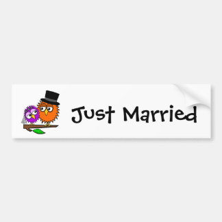 Píos del recién casado etiqueta de parachoque