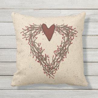Pip Berry Heart Wreath Outdoor Pillow