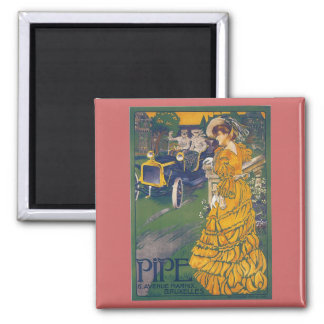 Pipe Automobile - Vintage Belgian Advertisement 2 Inch Square Magnet