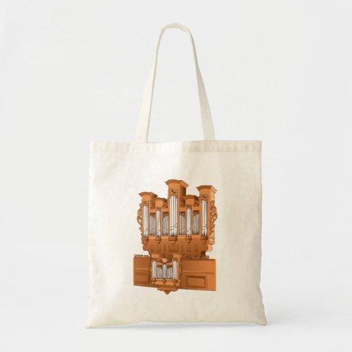 Pipe Organ, Church Organ Graphic Brown Canvas Bags