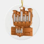 Pipe Organ, Church Organ Graphic Brown Ceramic Ornament